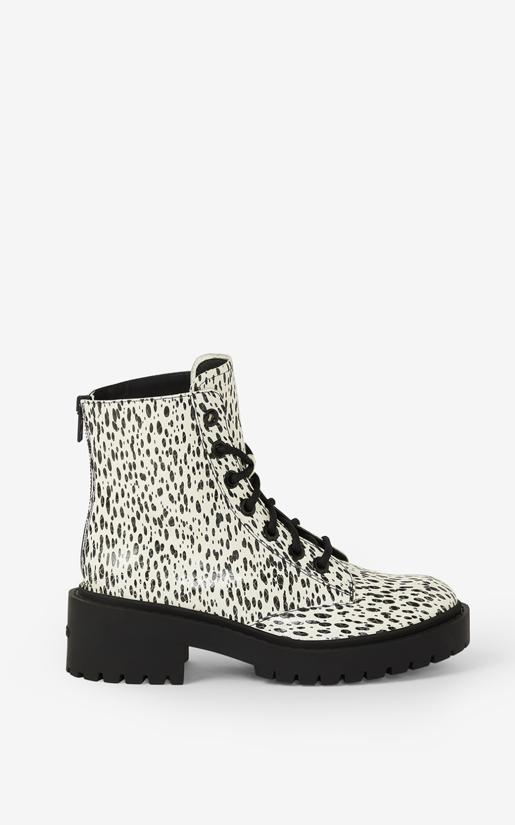 Kenzo LACE-UP PIKE 'LEOPARD' LEATHER ANKLE BOOTS