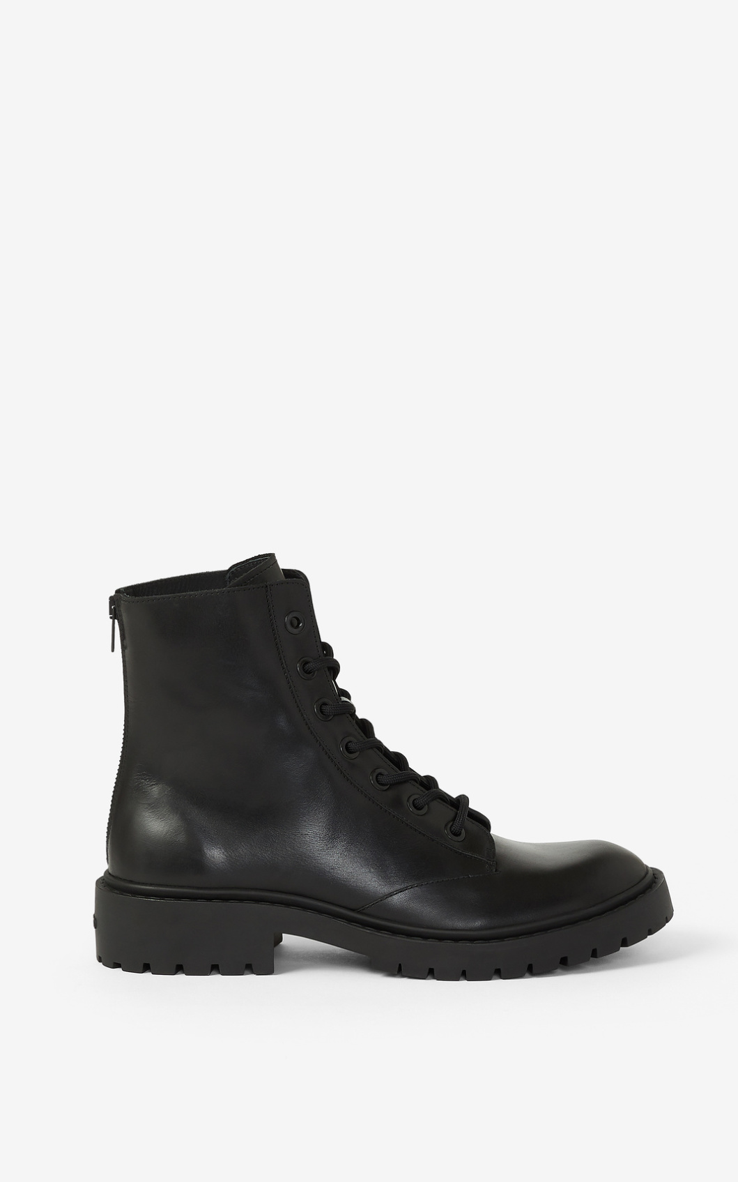 Kenzo LACE-UP LEATHER PIKE ANKLE BOOTS